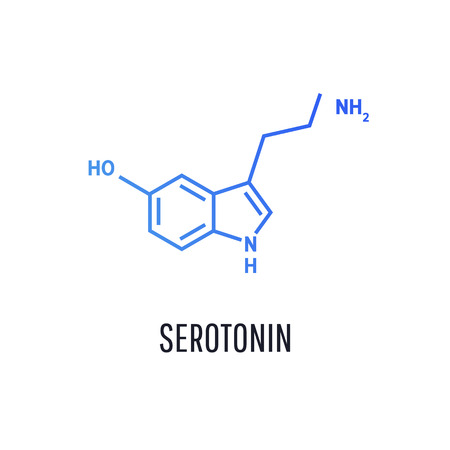 Serotonin hormone structural chemical formula isolated on white background.  Vector icon. Standard-Bild - 118592174