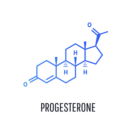 Progesterone female sex hormone molecule isolated on white background.  Vector icon.