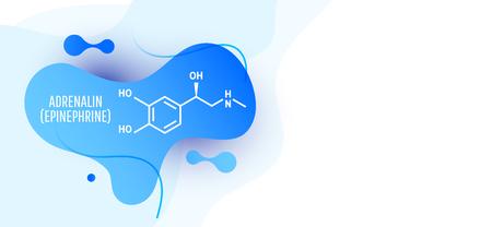 Adrenaline (adrenalin, epinephrine) molecule isolated on wave liquid background. Vector icon.