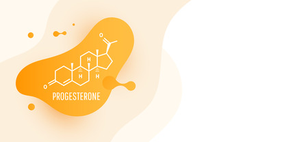 Progesterone female sex hormone molecule isolated on wave liquid background. Vector icon. 向量圖像