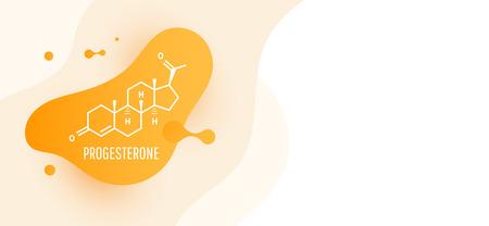 Progesterone female sex hormone molecule isolated on wave liquid background. Vector icon. Illustration