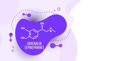 Adrenaline (adrenalin, epinephrine) molecule isolated on wave liquid background. Vector icon. Vector Illustration