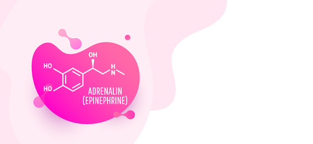 Adrenaline (adrenalin, epinephrine) molecule isolated on wave liquid background. Vector icon.