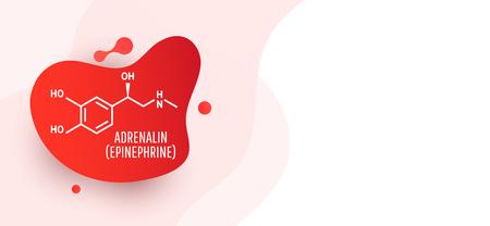 Molécula de adrenalina (adrenalina, epinefrina) aislada sobre fondo líquido de onda. Icono de vector.