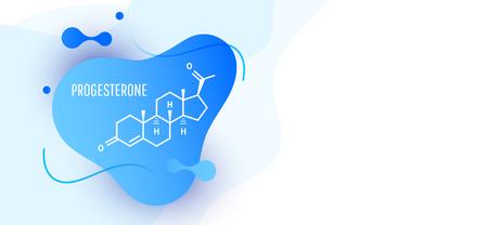 Progesteron weibliches Hormonmolekül auf Wellenflüssigkeitshintergrund isoliert. Vektor-Symbol.