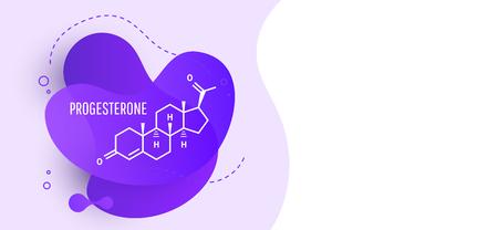 Progesterone female hormone molecule isolated on wave liquid background. Vector icon.