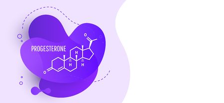 Progesterone female sex hormone molecule isolated on wave liquid background. Vector icon. Illustration