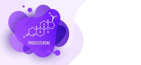 Molécule d'hormone féminine de progestérone isolée sur fond liquide d'onde. Icône de vecteur. Vecteurs