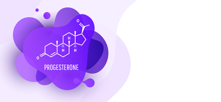 Progesterone female hormone molecule isolated on wave liquid background. Vector icon. Vector Illustration