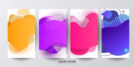 Set of plastic liquid gradient waves fluid  banners. Dynamic plastic liquid gradient waves