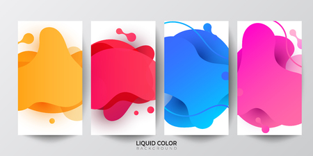 Set of liquid gradient fluid banners template  for online shopping.
