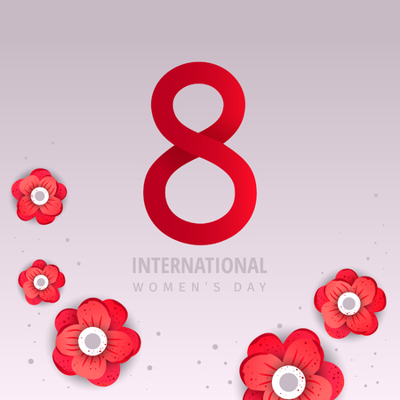 International women day flyer. 8 number with red paper cut flowers vector