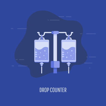 Healthcare, medical insurance and rehabilitation concept. Medical drop counter in flat style. Illustration