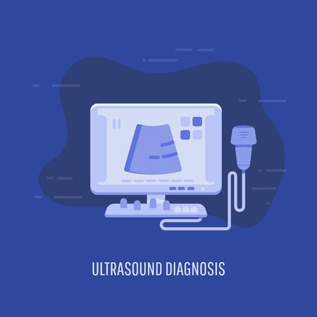 Recherche médicale, diagnostic par ultrasons en clinique de gynécologie, appareil à ultrasons. Vecteurs