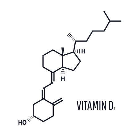 Vitamin D D3, cholecalciferol molecule. Skeletal formula. vitamin d formula is ensuring the absorption of calcium and phosphorus from food Vectores