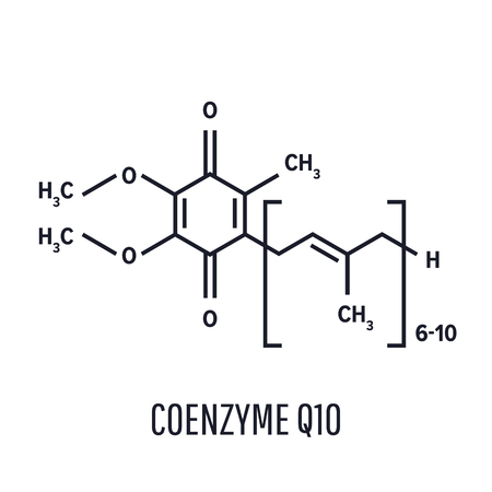 Coenzyme Q10 molecule, chemical structure. Skeletal formula