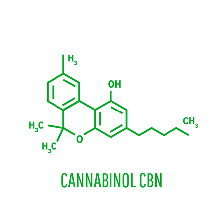 Skeletal formula of Cannabinol. stimulant molecule Illustration