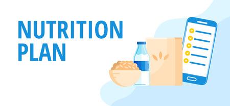 Diet concept. Proper nutrition plan mobile application on smartphone.