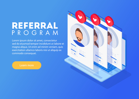 Isometric Referral marketing concept, referral program strategy, referring friends, network marketing