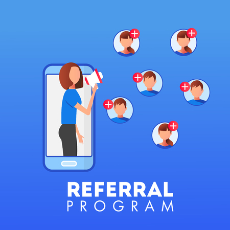 Refer a friend concept vector illustration with woman speaking through megaphone Ilustração Vetorial