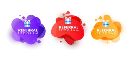 Set of doodle speech bubbles with Refer a Friend message