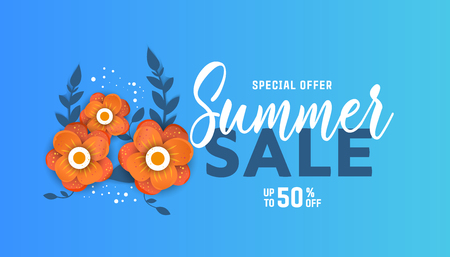 Summer sale background layout for banners with flowers and leaves with frame