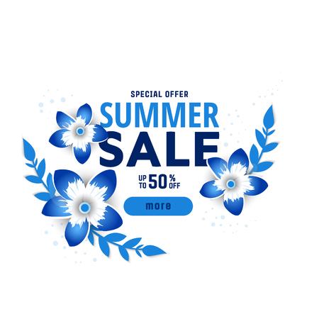 Summer sale banner design template. Vector illustration .discount voucher. Illustration