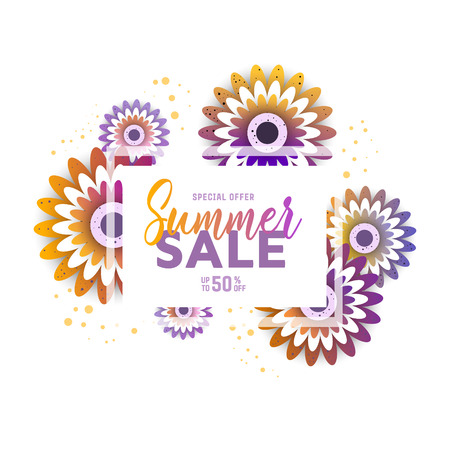 Summer sale banner design template. Vector illustration .discount voucher. Stock Illustratie