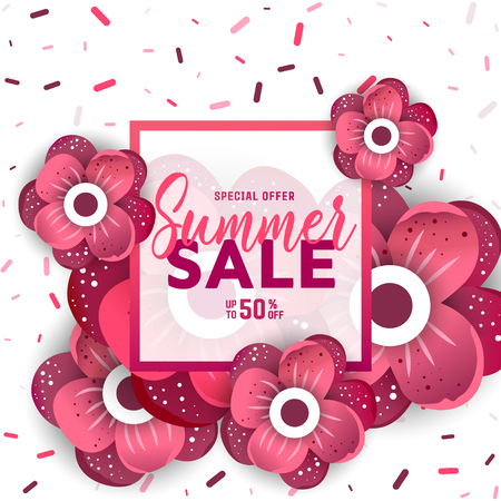 Summer sale banner with flowers for online shopping, magazines and websites. Vector illustration.