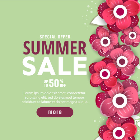 Summer sale background with flowers. Summer sale banner design template. Banque d'images - 119981261