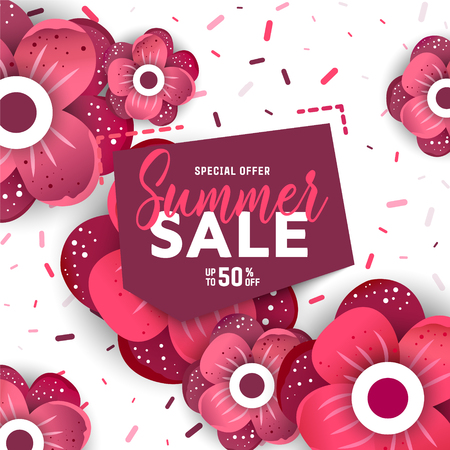 Summer sale background with flowers. Summer sale banner design template.