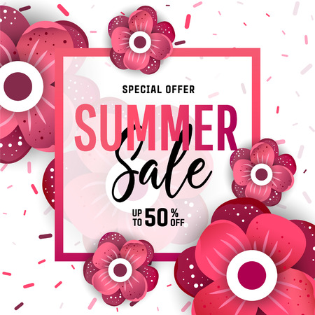 Summer sale banner. Background with flowers. Vector illustration for posters, coupons, promotional material.