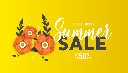 Summer sale flyer template with paper cut flowers for posters, brochures or vouchers