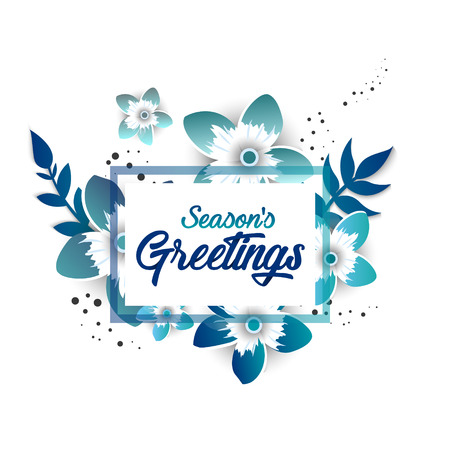 Season s greeting template, beautiful floral elements design for invitation, poster,card
