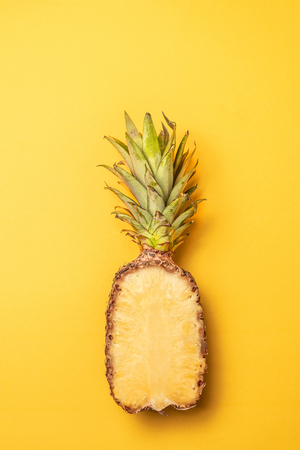 Creative layout made of pineapple, minimal style. Flat lay.