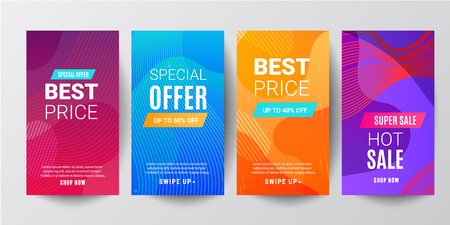 set of story template collection with wave liquid gradient splashes and copy space for text - bright vibrant banners, posters, cover design templates, social media stories wallpapers