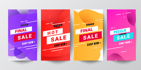 Story template collection with wave liquid gradient splashes and copy space for text - bright banners, posters, social media stories wallpapers