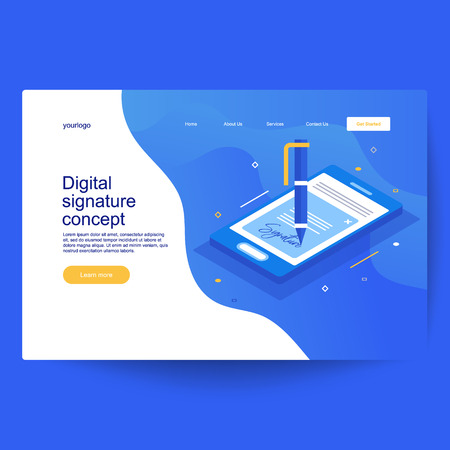 Digital smart contract isometric composition or electronic digital signature concept. Paper receipt of payment, verified