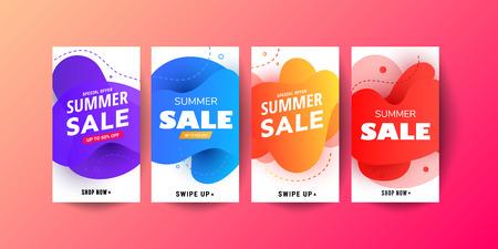 Story Promo modern fluid mobile Sale banners. Sale banner template design, Big sale special offer set