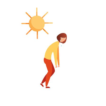La chaleur de l'été. Insolation. La fille transpire à cause de la chaleur. Jeune femme qui est devenue un coup de chaleur.