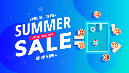 Summer sale banner design with swimming pool with girls, lounge chairs and parasols.