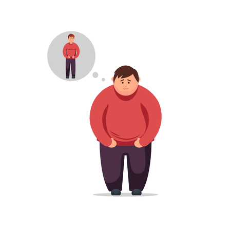 Diet, proper nutrition, nutritional plan. Flat design young man thinks how to lose weight and become thin 向量圖像