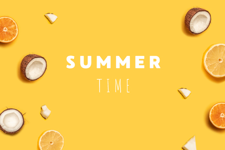 tropical summer fruit pattern on yellow background