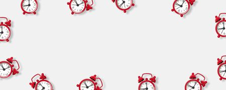 Flat lay red alarm clock on white background. Beginning of the working week. Can be used for text for banner, poster, site.