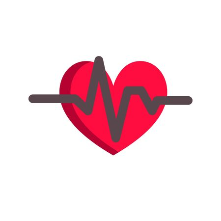 Heart and cardiogram icon concept. Simple design in flat style, vector Illustration