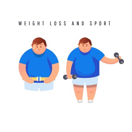 Vector illustration of a cartoon flat of fat man measuring his waist. The guy in sportswear holds dumbbells and is engaged in fitness, sweating