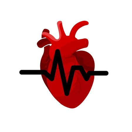 Medical concept of red heart organ with tubes and veins icon on white background. Cardiogram of the heart system, cancer or heart attack Stock Photo