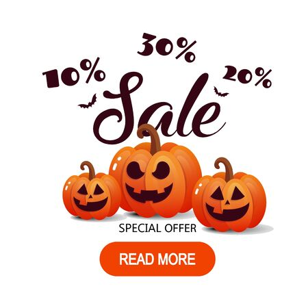Happy Halloween sale banner with bats and pumpkins. Vector illustration. Banners party invitation.
