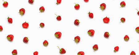 Food backdrop. Seamles strawberry creativepattern on white background