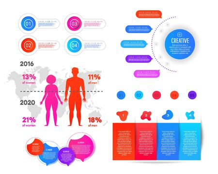 World map and information graphics. Infographics obesity and excess weight. Gradient flat infographic element of man and woman, world map and numbers Ilustração